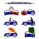 Iconos del seguro y del riesgo de coche Fotos de archivo