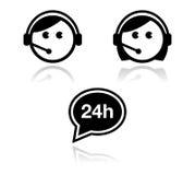 Iconos del servicio de atención al cliente fijados - agentes del centro de atención telefónica Foto de archivo