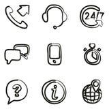 Iconos del servicio de atención al cliente a pulso ilustración del vector