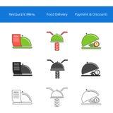 Iconos del servicio de entrega de la comida del restaurante Imagen de archivo libre de regalías