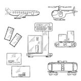 Iconos del servicio de entrega del aire y del carril Fotos de archivo libres de regalías