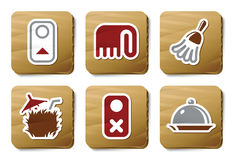 Iconos del servicio de habitación | Serie de la cartulina Imagen de archivo libre de regalías