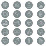 Iconos del servicio de hotel Línea fina icono Glyph del hotel Botón Vector Fotografía de archivo libre de regalías