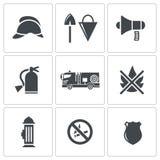 Iconos del servicio de incendios fijados stock de ilustración