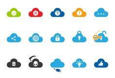 Iconos del servicio de la nube - el ejemplo fijó 2 stock de ilustración