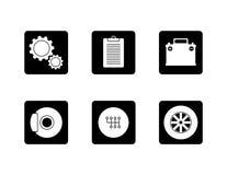 Iconos del servicio de los coches de la reparación auto fijados Foto de archivo libre de regalías
