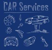 Iconos del servicio del coche Stock de ilustración