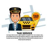 Iconos del servicio del taxi en el fondo blanco con el coche del taxi del amarillo del espacio de la copia, navegación Pin And Dr stock de ilustración