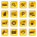 Iconos del servicio y de la reparación del coche Foto de archivo libre de regalías
