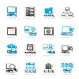 Iconos del servidor y de la red ilustración del vector