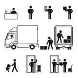 Iconos del sistema de la logística del hombre de entrega fijados Imagenes de archivo
