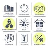 Iconos del sitio de los materiales de construcciones de la venta Fotos de archivo libres de regalías