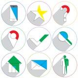 Iconos del sitio web con una sombra larga Imágenes de archivo libres de regalías