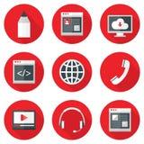 Iconos del sitio web fijados sobre rojo con las sombras Foto de archivo libre de regalías