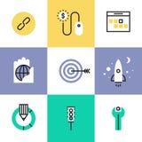 Iconos del sitio web y del pictograma del desarrollo de SEO fijados ilustración del vector