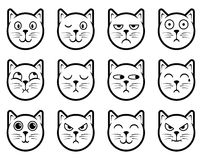 Iconos del smiley del gato stock de ilustración