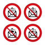 Iconos del sobre del correo Símbolos del documento del mensaje Foto de archivo libre de regalías