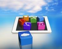 Iconos del software de aplicación en el cojín vacío con la nube app Imagenes de archivo