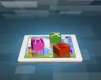 Iconos del software de aplicación en la tableta Fotografía de archivo libre de regalías