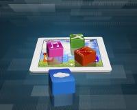 Iconos del software de aplicación en la tableta con la nube app Fotografía de archivo libre de regalías