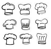 Iconos del sombrero del cocinero Foto de archivo libre de regalías