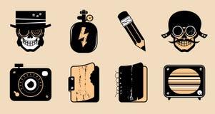 Iconos del steampunk de la historieta. stock de ilustración