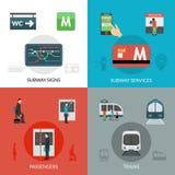 Iconos del subterráneo fijados ilustración del vector