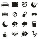 Iconos del sueño o el dormir Foto de archivo libre de regalías