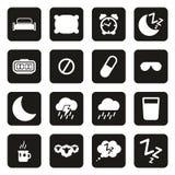 Iconos del sueño o el dormir blancos en negro Fotografía de archivo