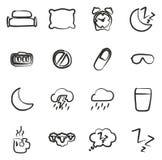 Iconos del sueño o el dormir a pulso Imagen de archivo libre de regalías