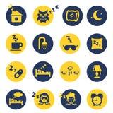 Iconos del sueño y del insomnio Foto de archivo libre de regalías