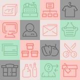 Iconos del supermercado fijados Imágenes de archivo libres de regalías