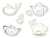 Iconos del té Imagen de archivo libre de regalías