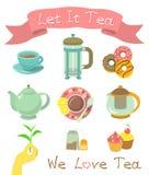 Iconos del té Fotos de archivo libres de regalías