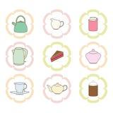 Iconos del té fijados Imagen de archivo