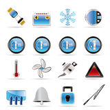 Iconos del tablero de instrumentos del coche Imagenes de archivo