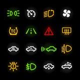 Iconos del tablero de instrumentos del coche Fotos de archivo libres de regalías
