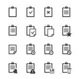 Iconos del tablero sobre blanco Documento del ofice del vector Fotos de archivo libres de regalías