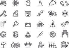 Iconos del taller de reparaciones del coche stock de ilustración