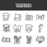 Iconos del teatro fijados stock de ilustración