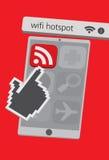 Iconos del teléfono celular de la tecnología con el ejemplo de Wifi App Foto de archivo libre de regalías