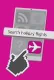 Iconos del teléfono celular de la tecnología con el ejemplo del App de los vuelos del día de fiesta Fotografía de archivo libre de regalías