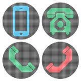 Iconos del teléfono del pixel Fotografía de archivo libre de regalías