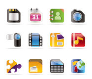 Iconos del teléfono móvil, del ordenador y del Internet