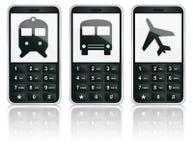 Iconos del teléfono móvil - transporte Imagen de archivo libre de regalías