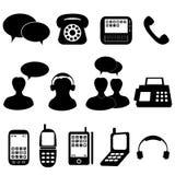 Iconos del teléfono y de la comunicación Imágenes de archivo libres de regalías