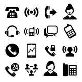 Iconos del teléfono y del centro de atención telefónica fijados ilustración del vector