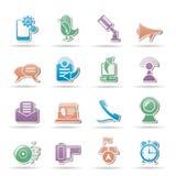 Iconos del teléfono móvil y de la comunicación Foto de archivo libre de regalías