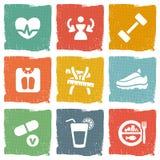 Iconos del tema de la dieta y de la aptitud fijados Foto de archivo libre de regalías