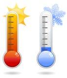 Iconos del termómetro Imagenes de archivo